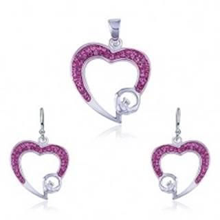 Strieborný set 925 - prívesok a náušnice, ružový zirkónový obrys srdca
