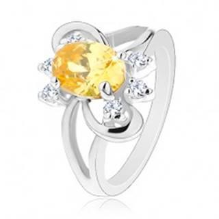 Trblietavý prsteň s rozdelenými ramenami, žlto-číre zirkóny, lesklé oblúky - Veľkosť: 50 mm