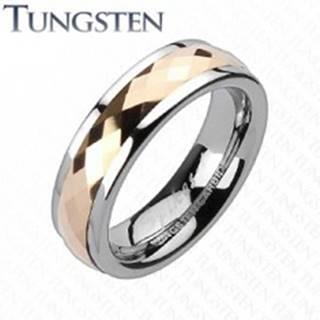Tungstenová obrúčka - otáčavý stredový pás ružovozlatej farby - Veľkosť: 49 mm