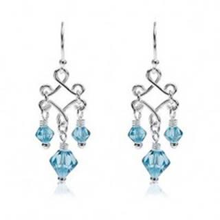 Visiace náušnice s modrými korálkami zo skla, striebro 925