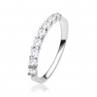 Zásnubný prsteň zo striebra 925, pás čírych zirkónov, hladké ramená - Veľkosť: 48 mm