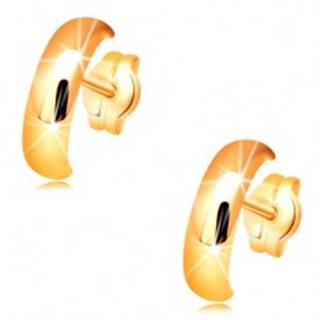 Zlaté náušnice 585 - lesklé hladké polkruhy s vypuklým povrchom