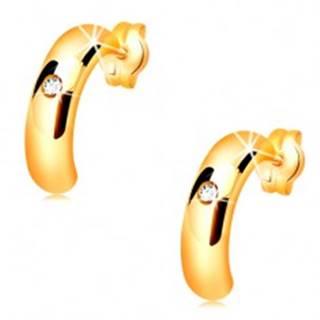 Zlaté náušnice 585 - lesklé polkruhy s vypuklým povrchom, číry zirkón
