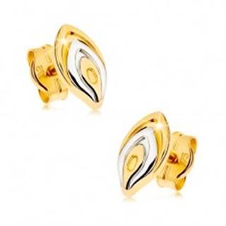 Zlaté puzetové náušnice 375 - dvojfarebný lupeň kvetu, ródiovaný povrch