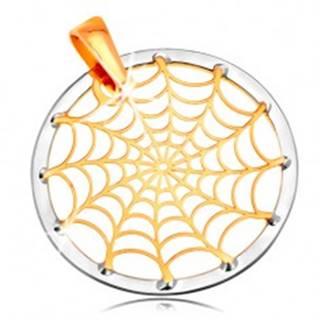 Zlatý 14K prívesok - pavučina v kontúre kruhu, žlté a biele zlato