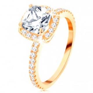 Zlatý prsteň 585 - ligotavý okrúhly zirkón v ozdobnom kotlíku, trblietavé línie - Veľkosť: 49 mm