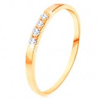Zlatý prsteň 585 - tenké lesklé ramená, línia štyroch čírych zirkónikov - Veľkosť: 49 mm