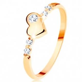 Zlatý prsteň 585 - vypuklé nepravidelné srdiečko, ligotavé číre zirkóny - Veľkosť: 49 mm
