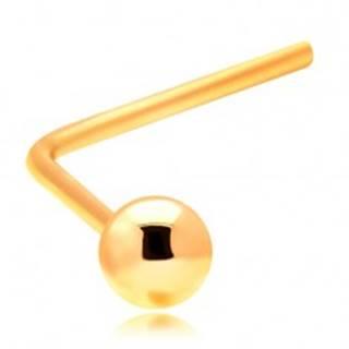 Zlatý zahnutý piercing do nosa 585 - malá lesklá guľôčka