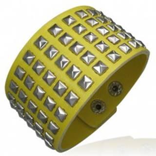 Žltý koženkový náramok - vybíjaný