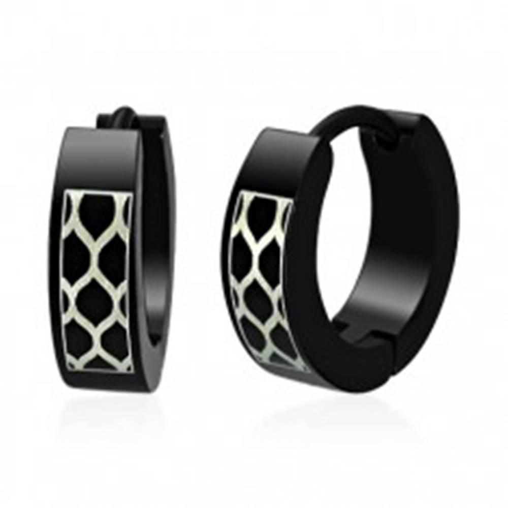 Šperky eshop Čierne oceľové náušnice - včelie plasty