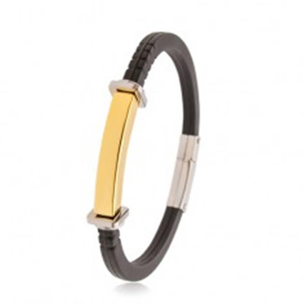 Šperky eshop Čierny náramok z gumy, oceľová známka zlatej farby, štvorce a kruhy po stranách