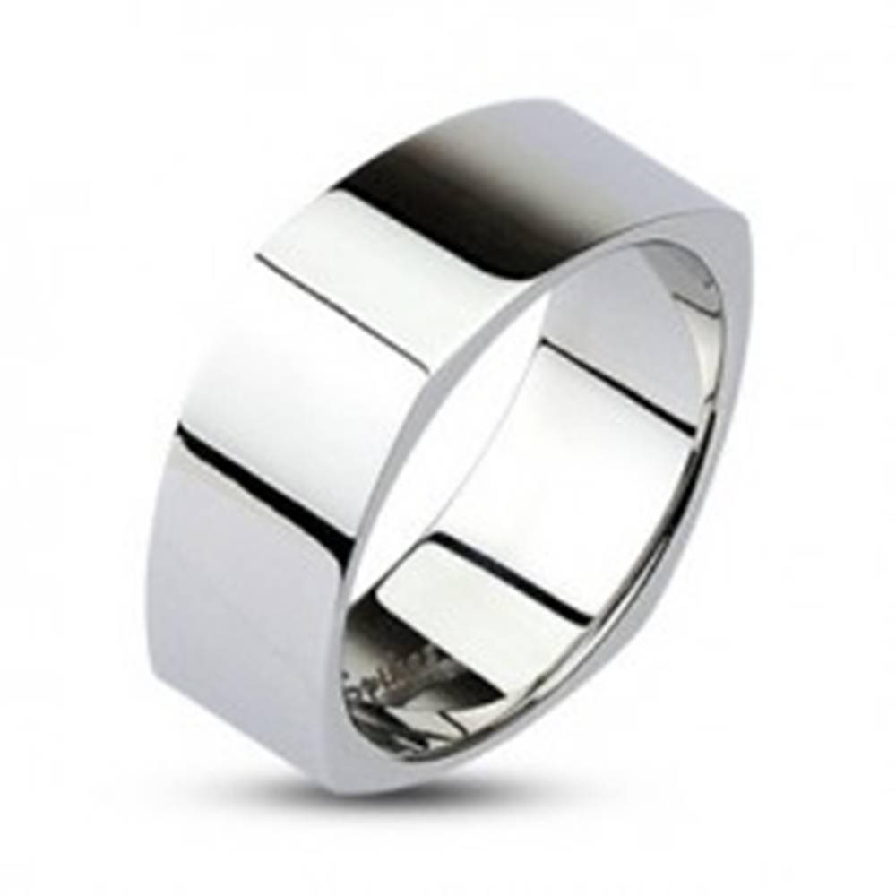Šperky eshop Hranatá oceľová obrúčka - lesklý povrch striebornej farby - Veľkosť: 48 mm