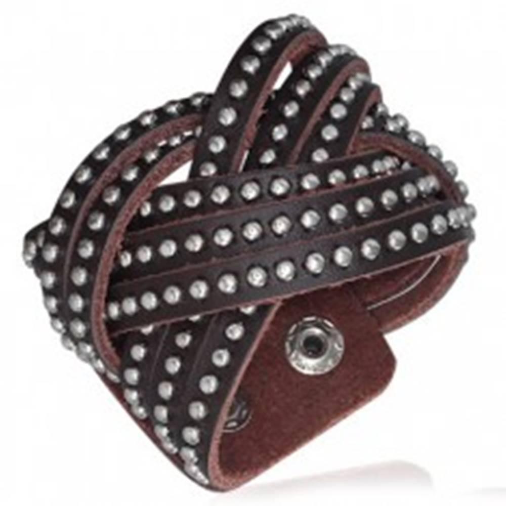 Šperky eshop Kožený náramok - pletený, vybíjaný