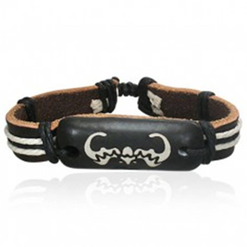 Šperky eshop Kožený náramok so šnúrkami - známka s netopierom