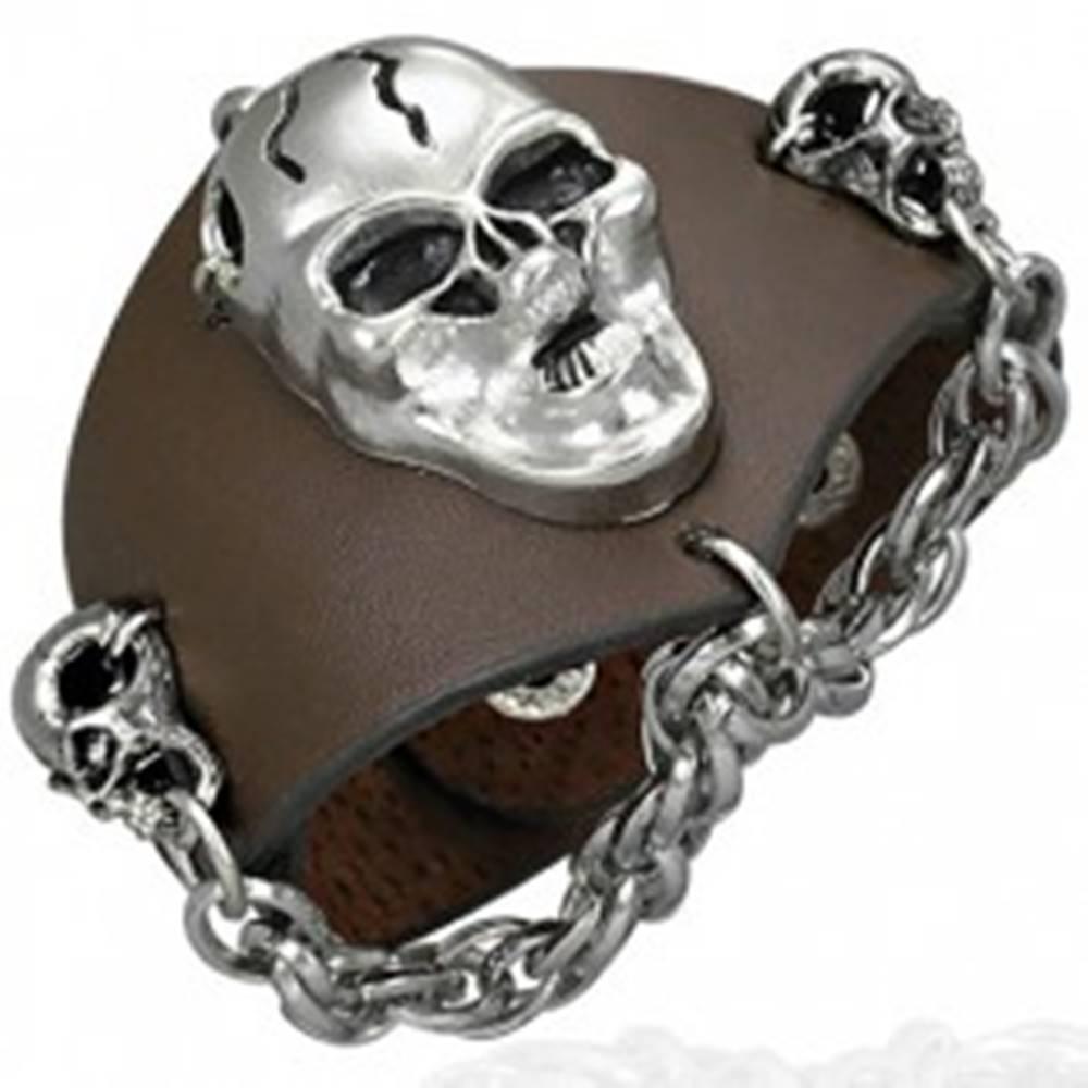 Šperky eshop Kožený náramok - zúrivé lebky, retiazka, hnedý