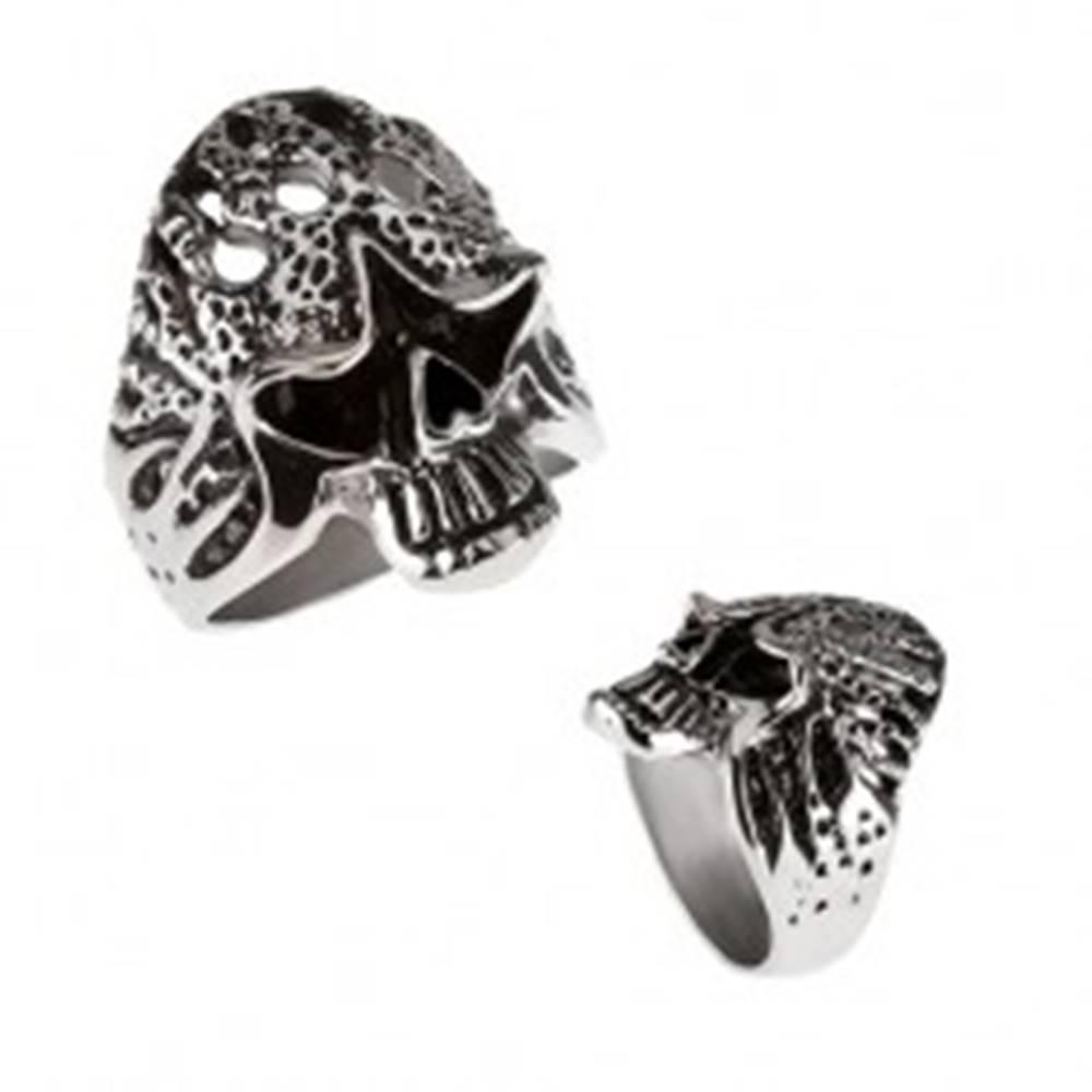 Šperky eshop Mohutný prsteň z chirurgickej ocele - horiaca lebka - Veľkosť: 59 mm