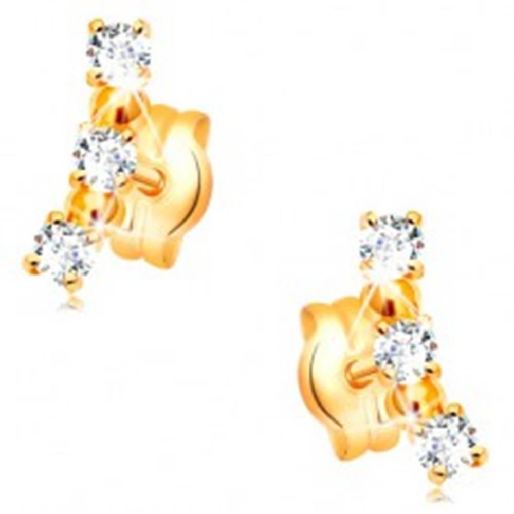 Šperky eshop Náušnice v žltom 14K zlate - oblúk z čírych zirkónov a lesklých guličiek