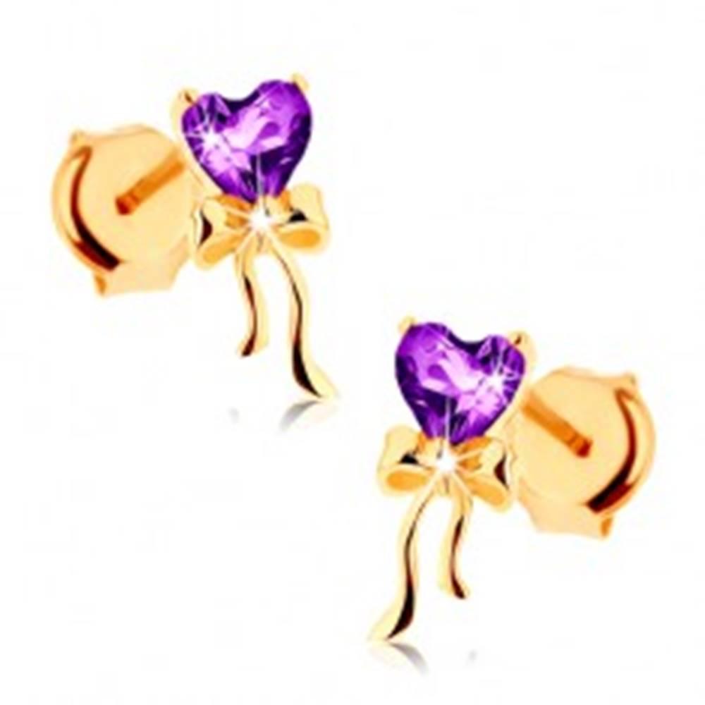 Šperky eshop Náušnice v žltom 9K zlate, fialové srdiečko z ametystu, lesklá mašľa