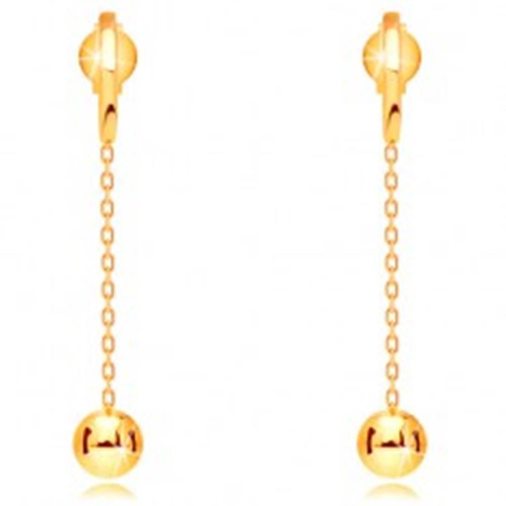 Šperky eshop Náušnice v žltom zlate 585 - lesklá gulička visiaca na retiazke, puzetky