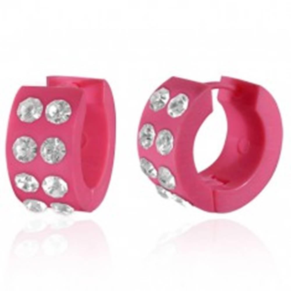 Šperky eshop Náušnice z akrylu - okrúhle, ružové s čírymi zirkónmi