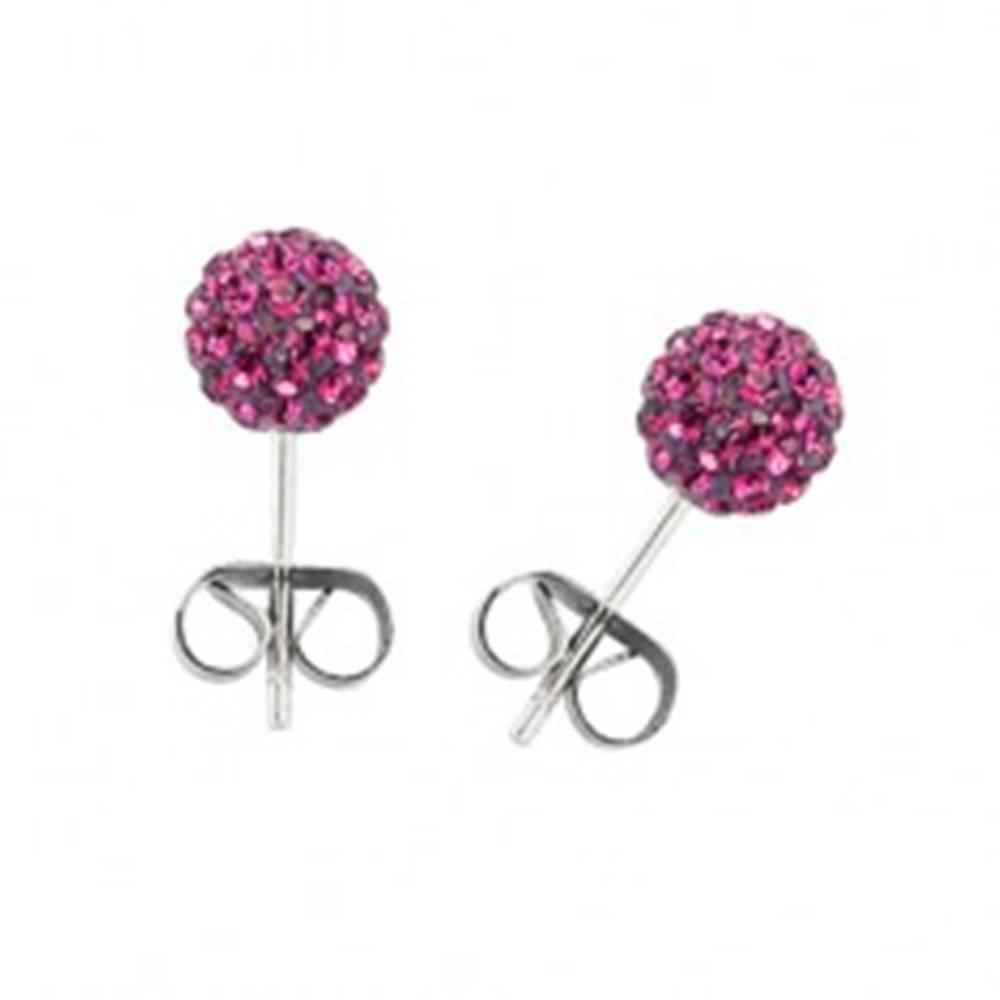 Šperky eshop Náušnice z chirurgickej ocele - gulička s ružovými zirkónmi