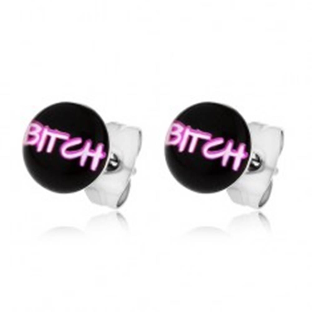 """Šperky eshop Náušnice z chirurgickej ocele, nápis """"BITCH"""" na čiernom podklade"""