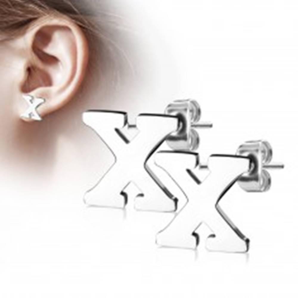 Šperky eshop Náušnice z chirurgickej ocele - veľké tlačené písmenko X, strieborná farba