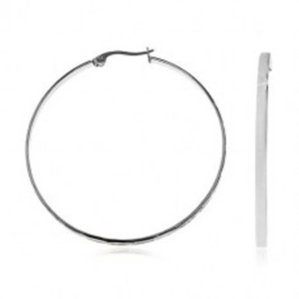Šperky eshop Náušnice z ocele 316L - lesklé hladké kruhy striebornej farby