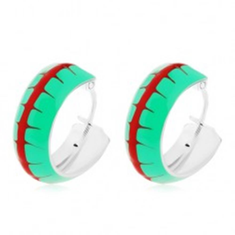 Šperky eshop Náušnice zo striebra 925, obruče so zelenou glazúrou a červeným pásom, 14 mm