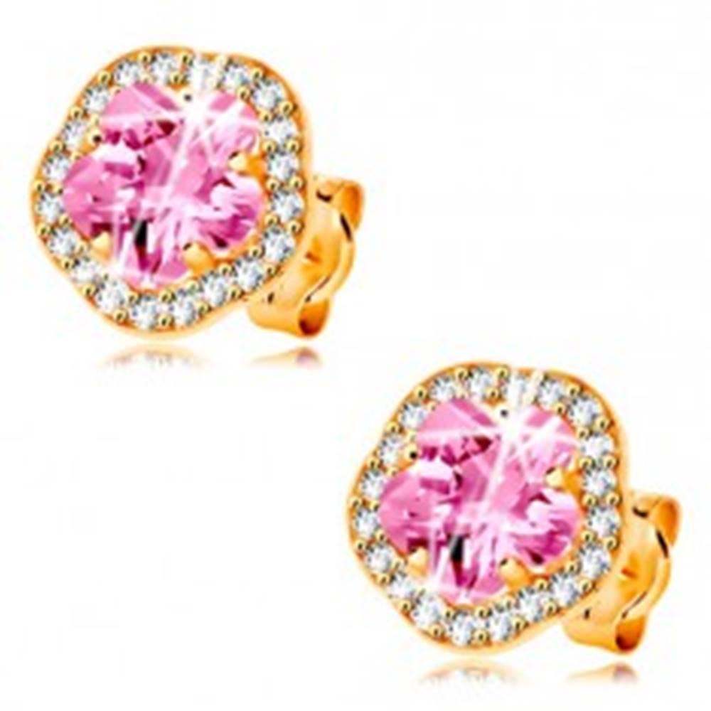 Šperky eshop Náušnice zo žltého 14K zlata - ligotavý ružovo-číry zirkónový kvet