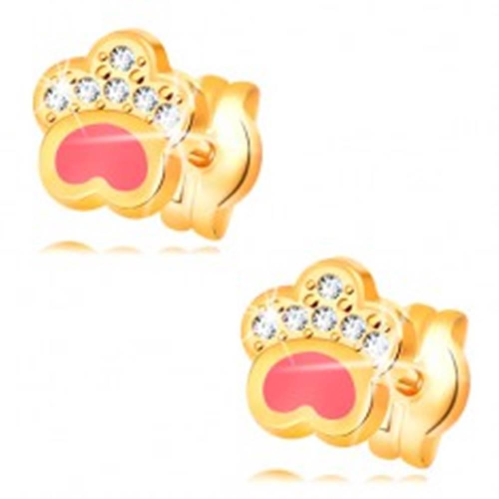 Šperky eshop Náušnice zo žltého 14K zlata, psia labka s ružovou glazúrou a zirkónmi