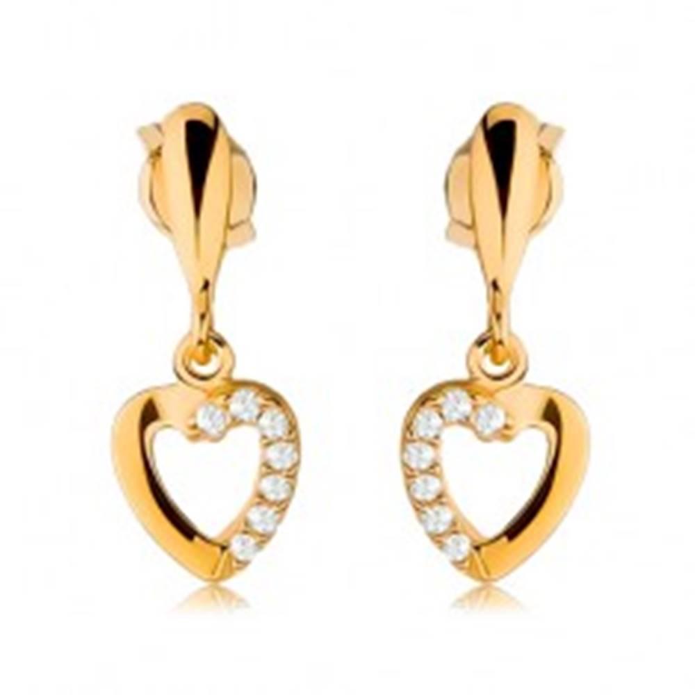 Šperky eshop Náušnice zo žltého 9K zlata - obrys srdca so zirkónovou polovicou, úzka kvapka