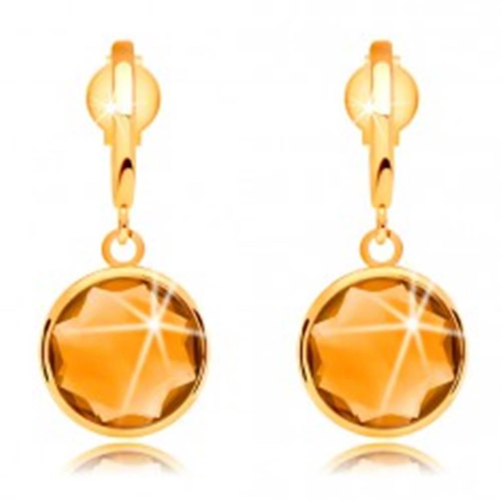 Šperky eshop Náušnice zo žltého zlata 585 - úzky oblúčik a brúsený citrín žltej farby