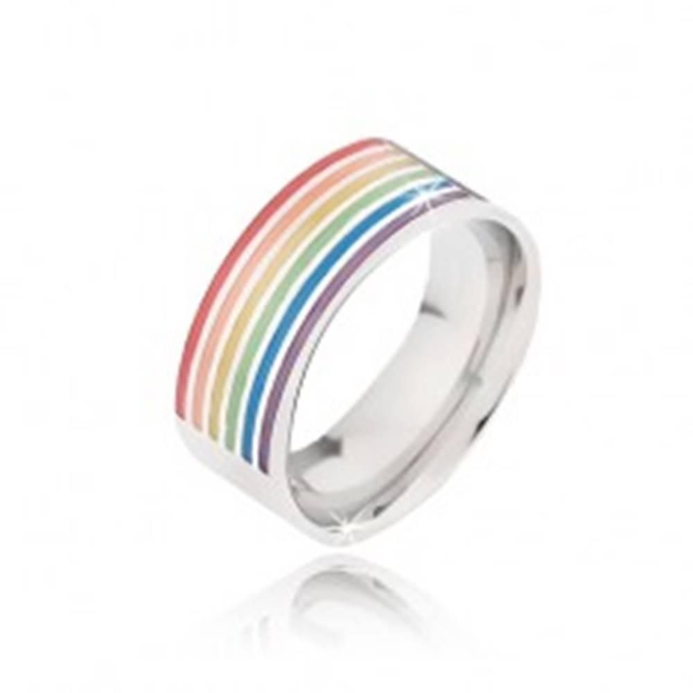 Šperky eshop Obrúčka z chirurgickej ocele, farebné glazúrované ryhy - Veľkosť: 51 mm