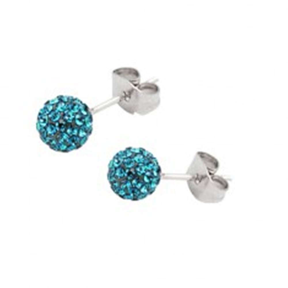 Šperky eshop Oceľové náušnice - gulička s tyrkysovými zirkónmi