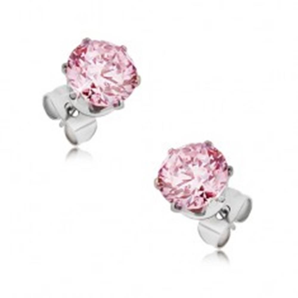 Šperky eshop Oceľové puzetové náušnice - okrúhly ružový zirkón, rôzne veľkosti - Veľkosť zirkónu: 3 mm