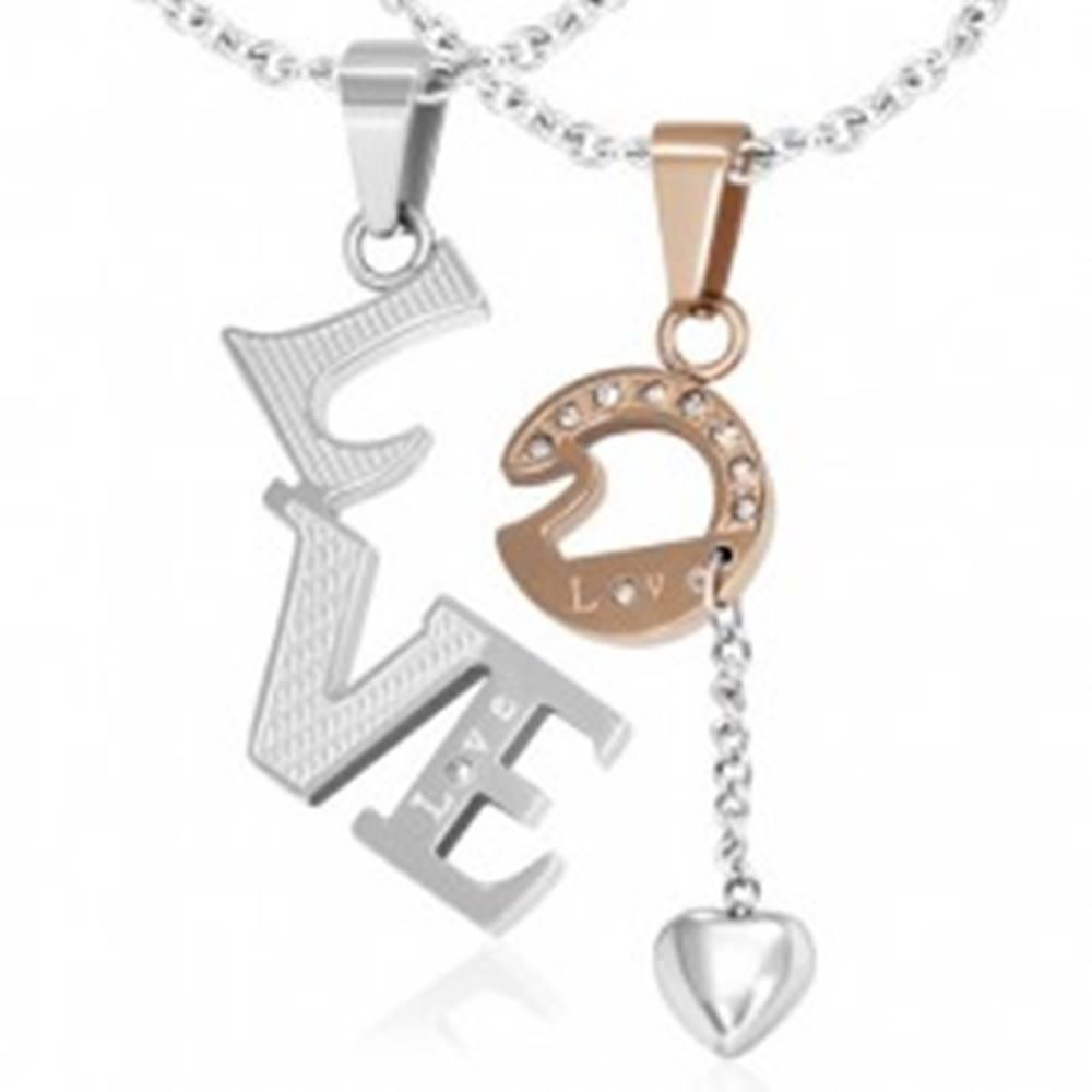 Šperky eshop Oceľový dvojprívesok - Love, zirkóny, srdiečko na retiazke