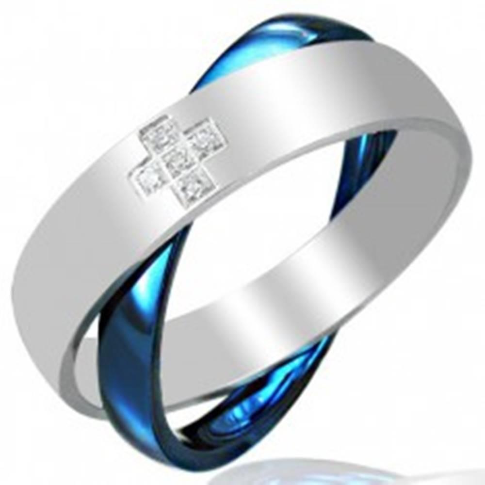 Šperky eshop Oceľový dvojprsteň, modro - striebornej farby - Veľkosť: 45 mm
