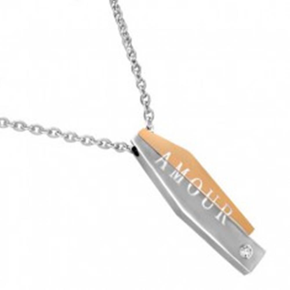 Šperky eshop Oceľový náhrdelník - dvojdielny prívesok s nápisom AMOUR