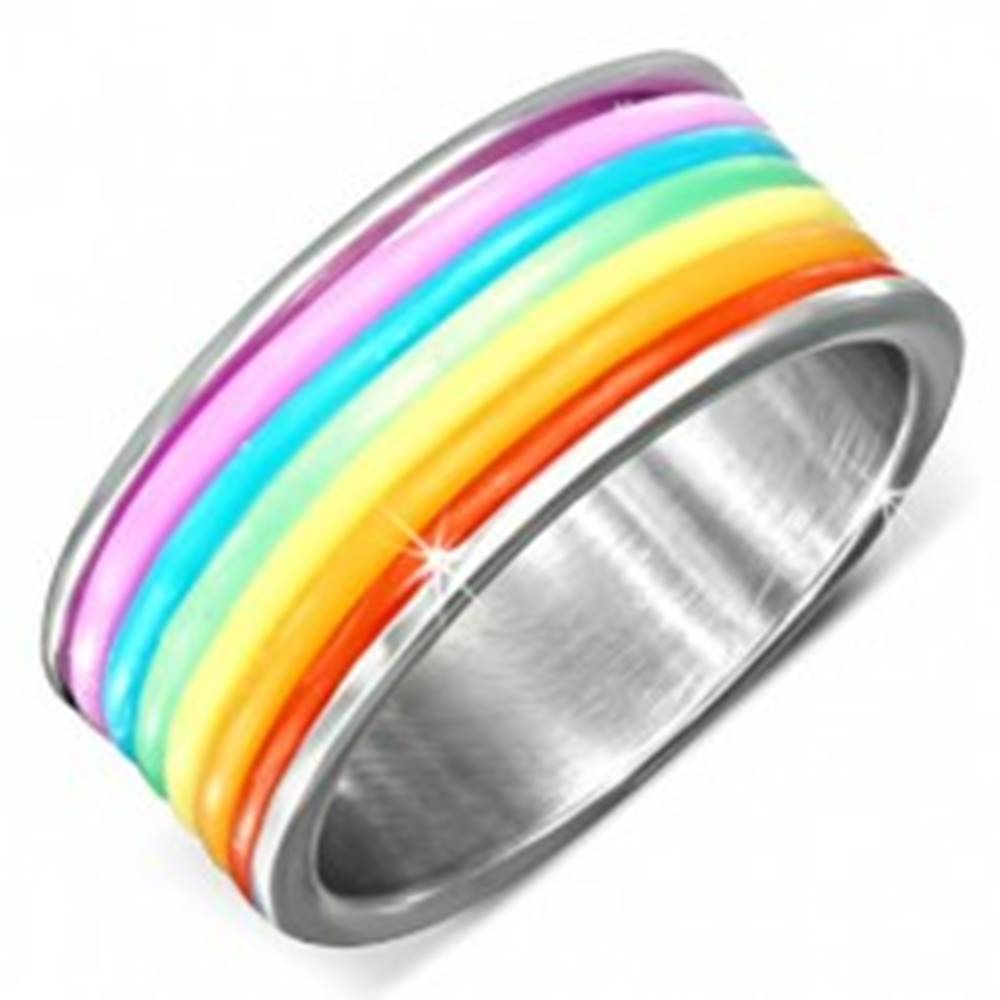Šperky eshop Oceľový prsteň s farebnými gumenými prúžkami - Veľkosť: 51 mm