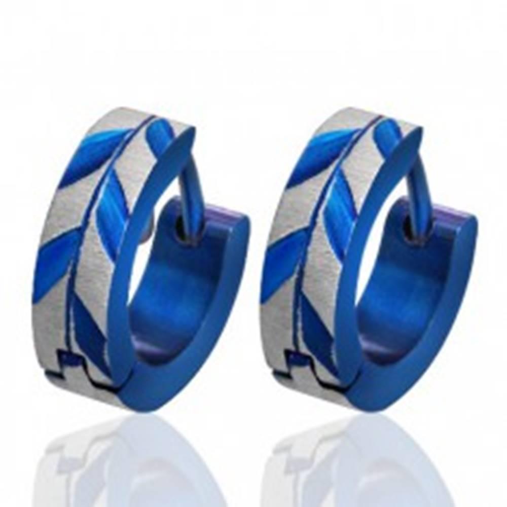 Šperky eshop Okrúhle oceľové náušnice - brúsené listy Acacie, modré