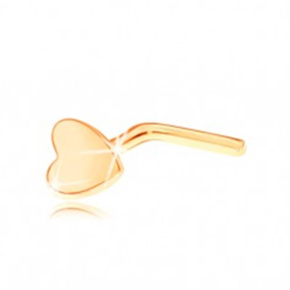 Šperky eshop Piercing do nosa v žltom 14K zlate - zahnutý, drobné ploché srdiečko