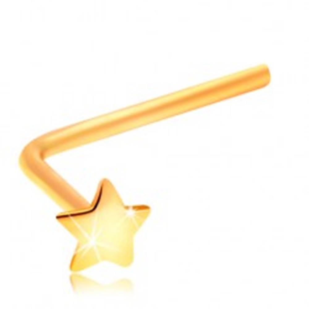 Šperky eshop Piercing do nosa zo žltého 14K zlata - malá hviezdička, zahnutý tvar