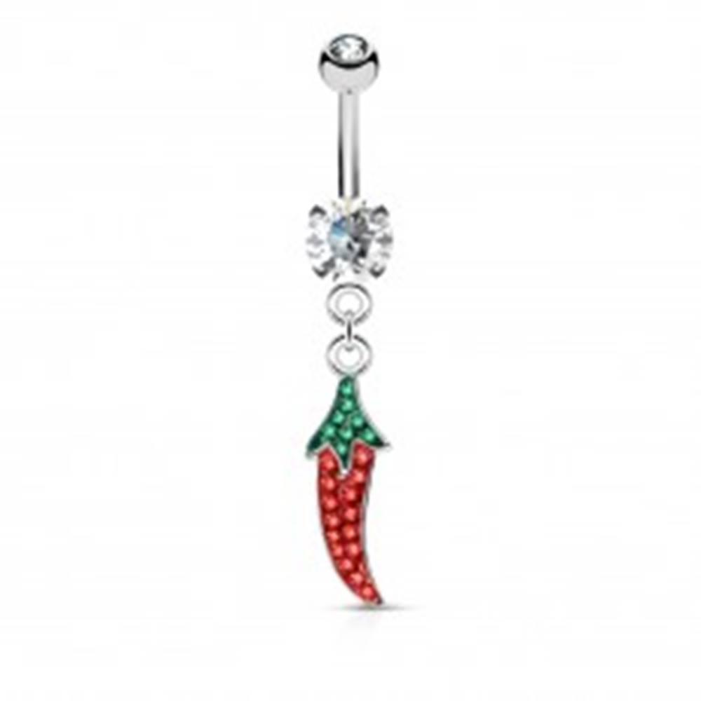 Šperky eshop Piercing do pupku z ocele 316L, čili paprička, zelené a červené zirkóny