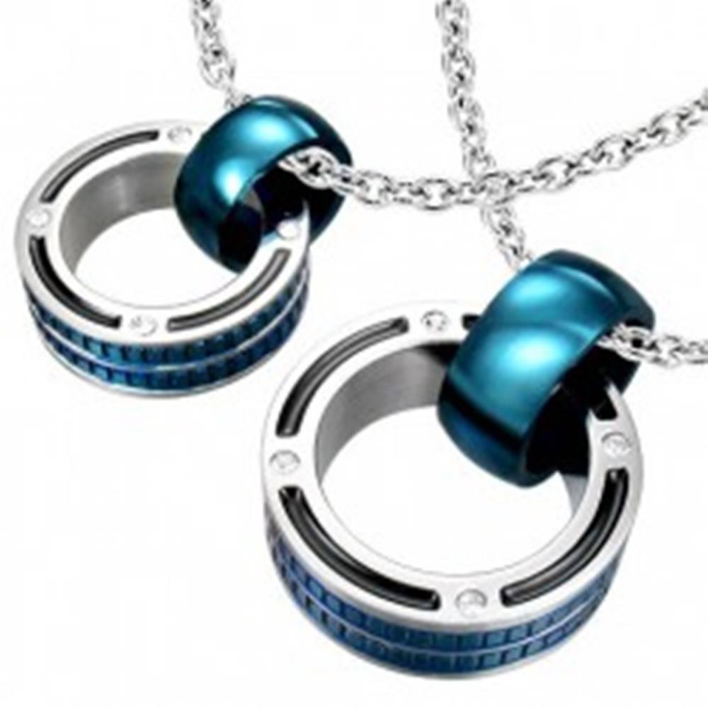 Šperky eshop Prívesky pre pár - mohutné prstence v modrej farbe, zirkóny