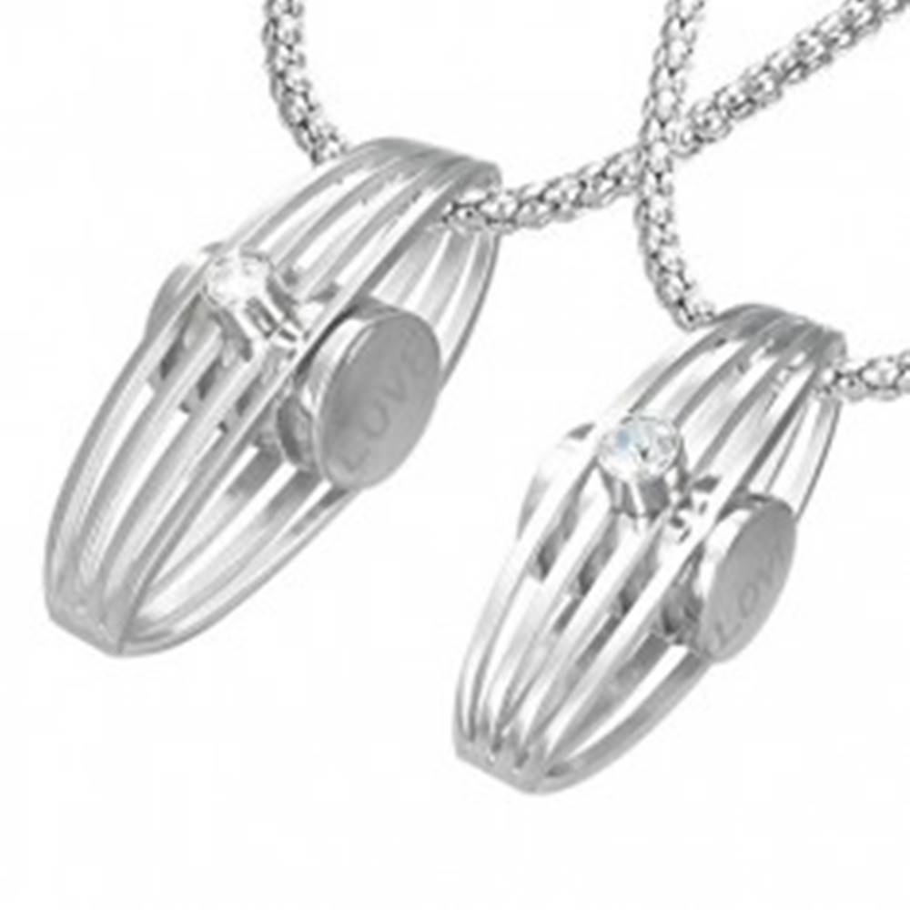 Šperky eshop Prívesok pre zamilovaných - rebrovaná elipsa, zirkón, bočný nápis