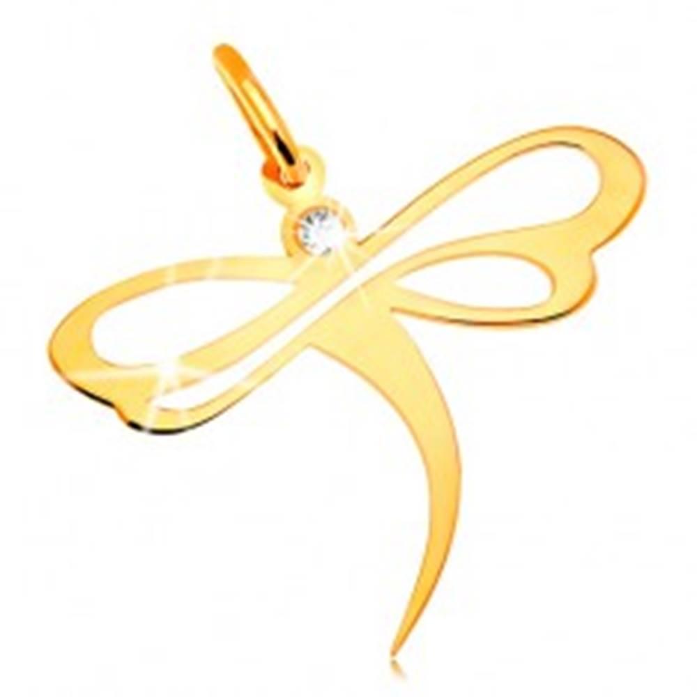 Šperky eshop Prívesok v žltom 14K zlate - vážka so vsadeným zirkónom a výrezmi na krídlach