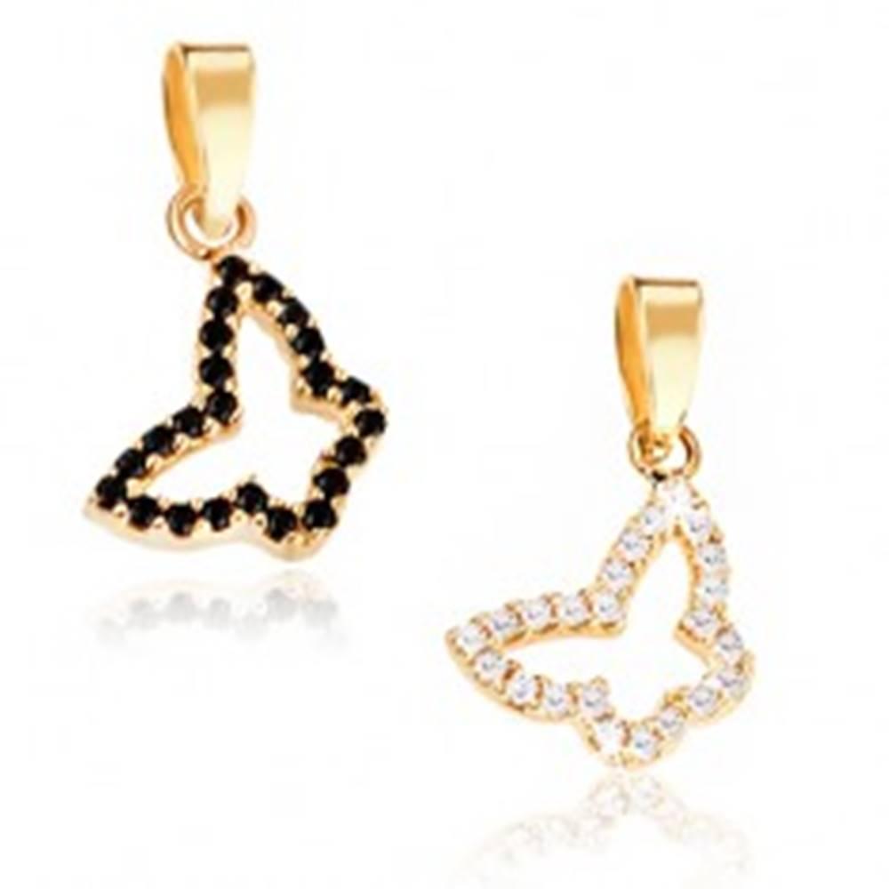 Šperky eshop Prívesok zo zlata 14K - obrys motýlika, dve farebné kombinácie, kamienky  - Farba: Číra