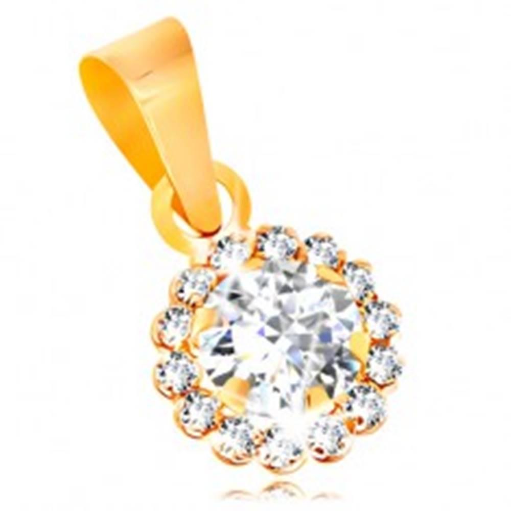 Šperky eshop Prívesok zo žltého 14K zlata - ligotavý zirkónový kvietok čírej farby